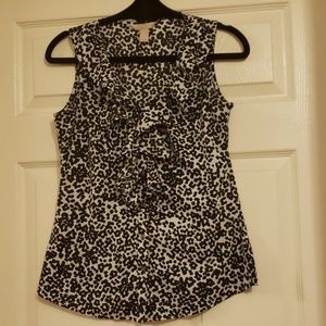 Banana Republic Black and White Leopard Blouse